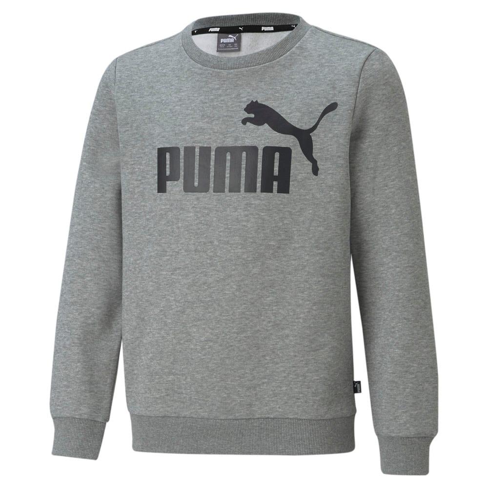 Moletom Puma Essentials Crew Neck Big Logo Infantil Mescla e Preto