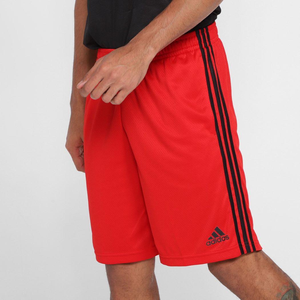 Shorts Adidas 3-Stripes Masculina Vermelho e Preto