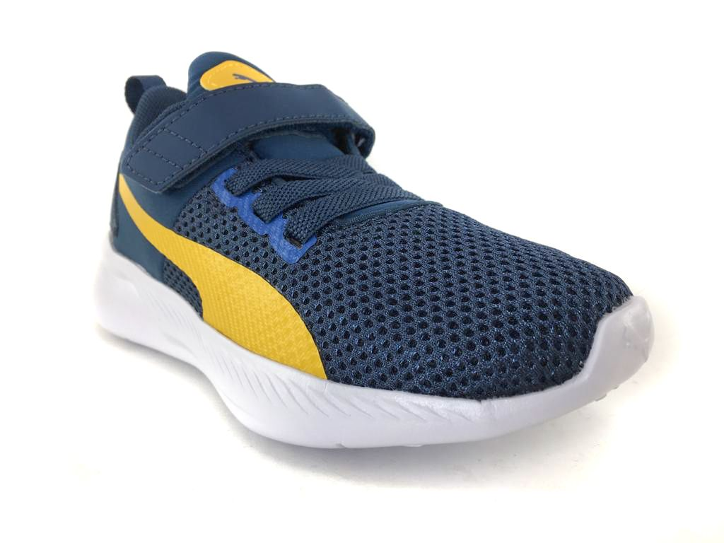 Tênis Infantil  Puma Flyer Runner Color Twist Azul e Amarelo