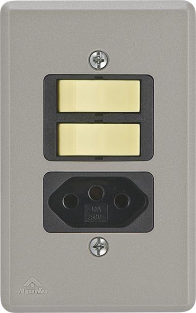 2 INT.SIMPLES+TOMADA 2P+T 20A 250V C/ PLACA SILENLUX (10 UNIDADES)