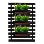 Floreira jardim vertical com 3 Cachepôs 40x80 Preto Treliça painel de madeira