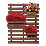 Treliça Painel Floreira de madeira jardim vertical com 3 cachepôs 60x80
