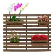 Treliça Floreira jardim vertical com 4 cachepôs 100x80 Tabaco