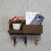 Porta Chaves de Madeira Rustico Porta Objetos