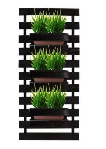 Floreira jardim vertical com 3 cachepôs 35X80 PRETO Painel Treliça