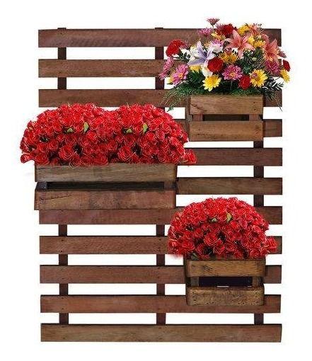 Floreira jardim Vertical com 3 cachepôs 50x80 Tabaco Treliça de madeira