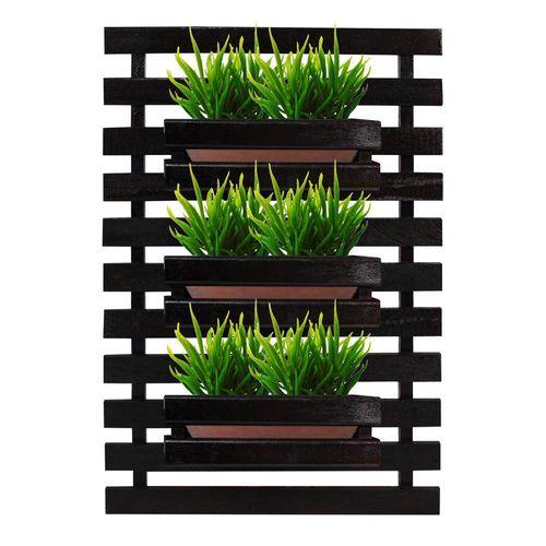 Floreira jardim vertical com 3 cachepôs 50x80 Preto Painel de madeira