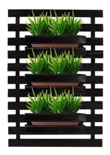 Painel Treliça Floreira jardim vertical com 3 cachepôs 60x80 Preto