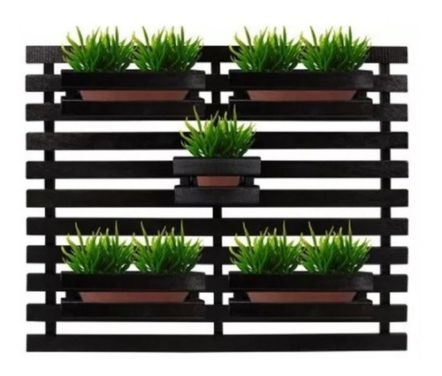 Treliça Floreira jardim vertical com 5 cachepôs 100x80 preto Painel Treliça