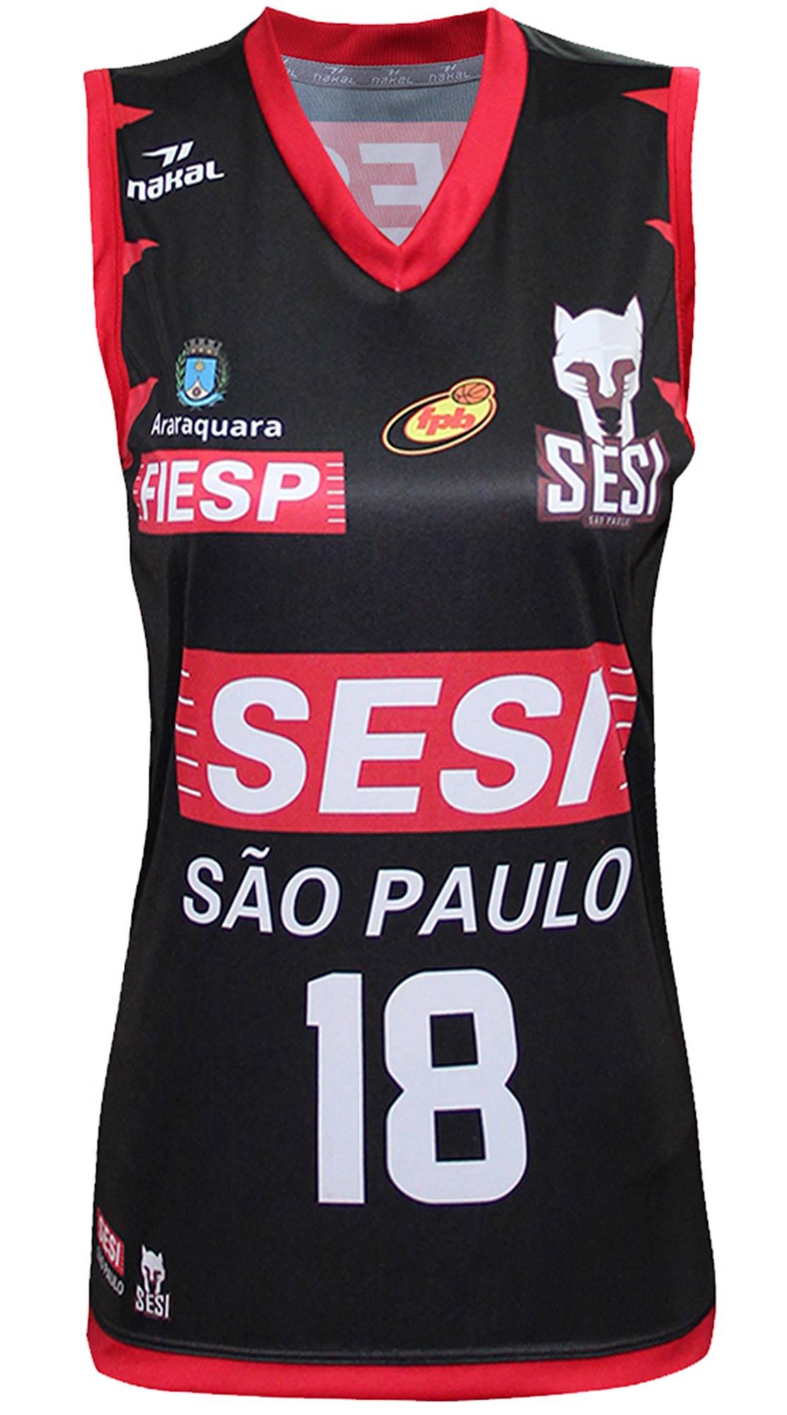 Camisa Oficial SESI Araraquara Basquete Feminino Preta