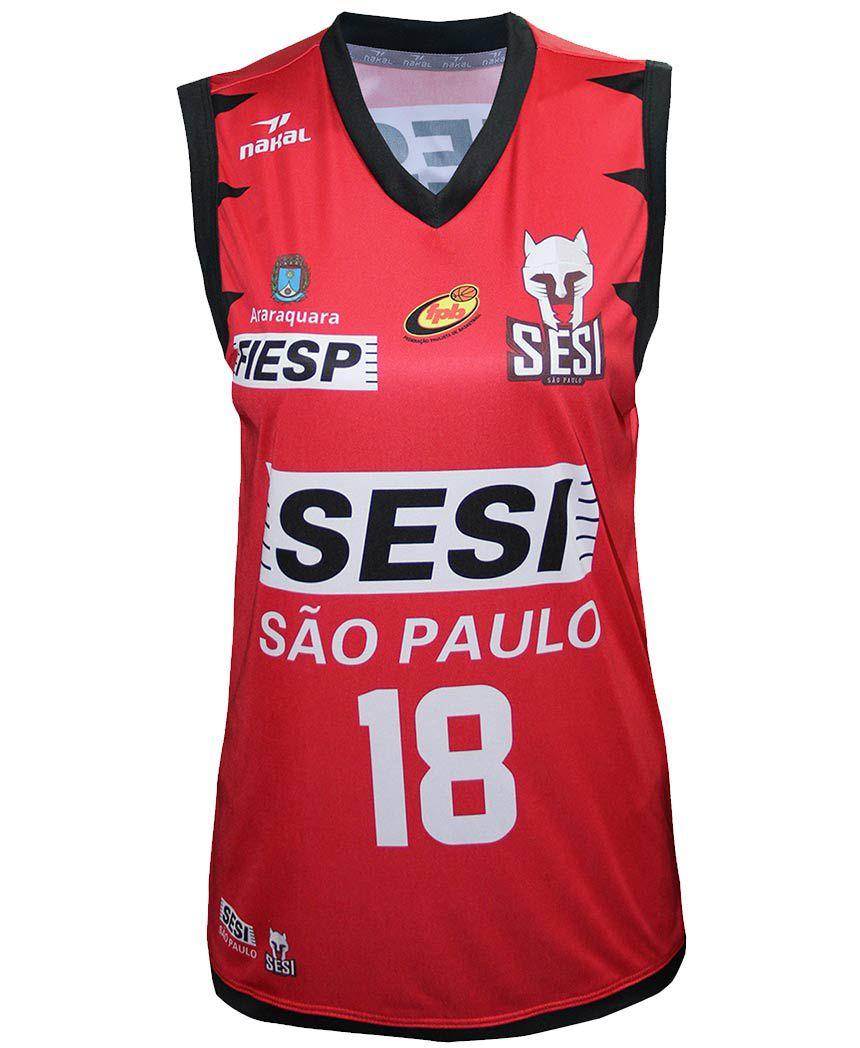 Camisa Oficial SESI Araraquara Basquete Feminino Vermelha