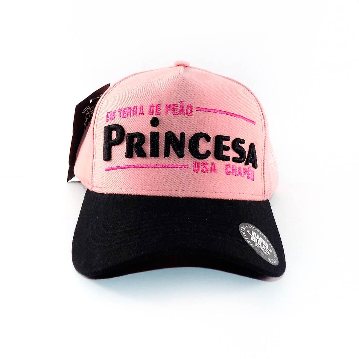 Boné Country Princesa Usa Chapéu - Rosa e Preto