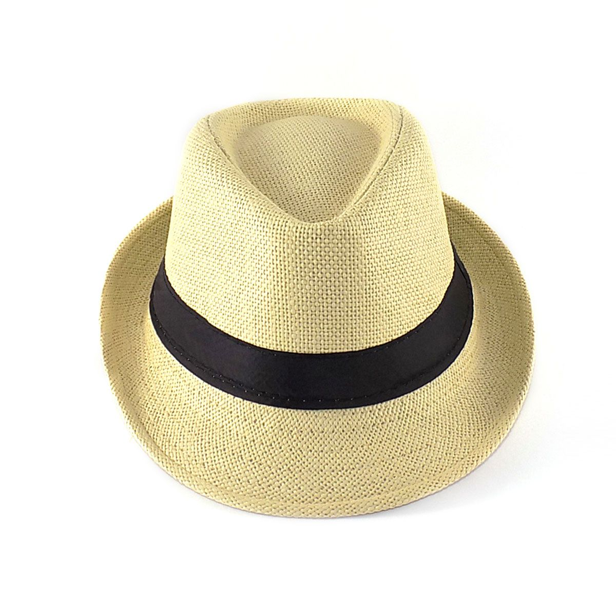 Chapéu Fedora aba curta - Palhinha - Bege