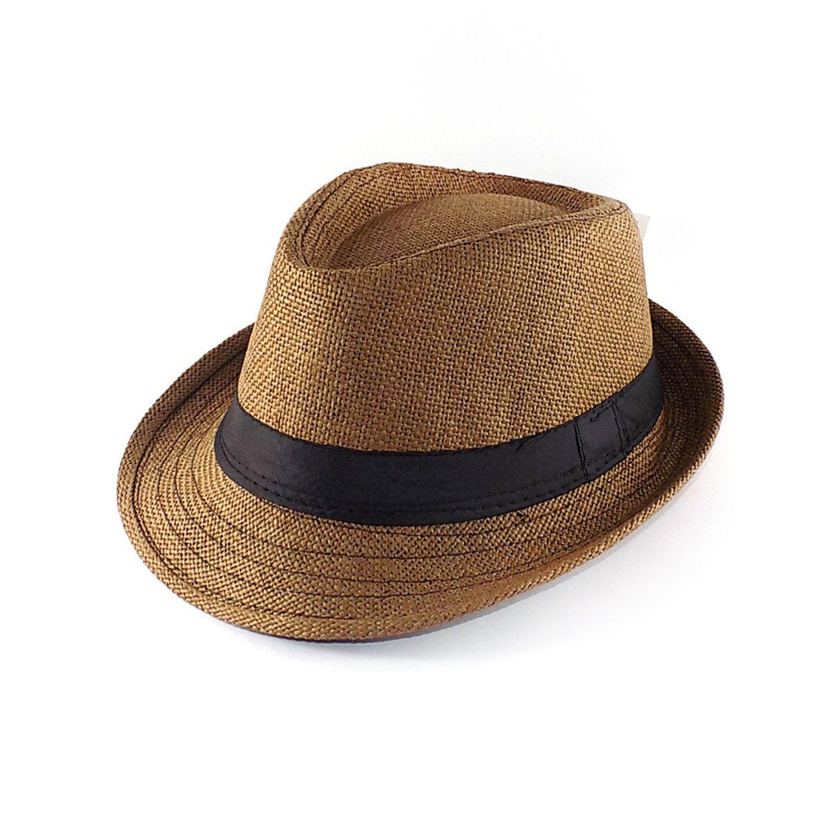 Chapéu Fedora aba curta - Palhinha - Marrom
