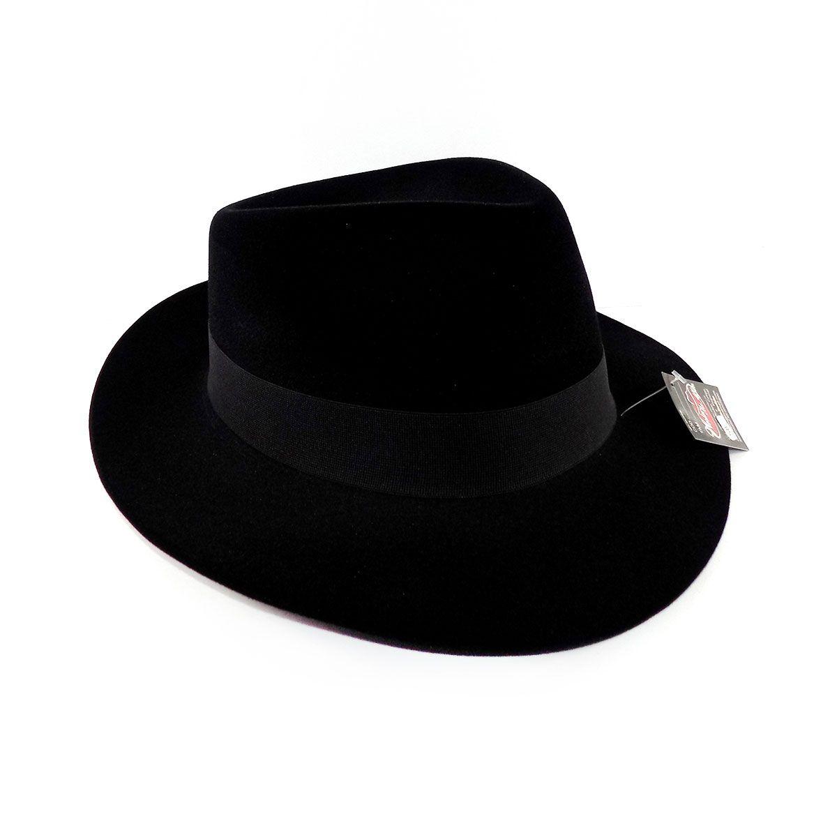 Chapéu Fedora Social Aveludado - Preto