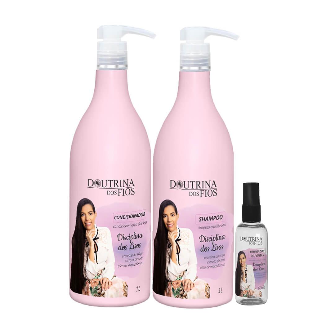 Kit Disciplina dos Lisos Shampoo + Condicionador 1L com Reparador de Pontas 60ml