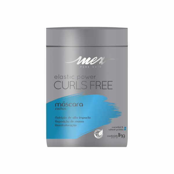 Máscara Cachos Elastic Power Curls Free Mex Pure Hair 1kg