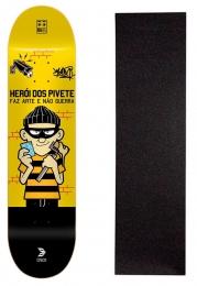 """Shape Cisco Skate Fiber Decks Herói dos Pivete 8"""" + Lixa Gratis"""
