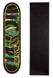 """Shape Cisco Skate Marfim Camu Green 7.75"""" + Lixa Grátis"""