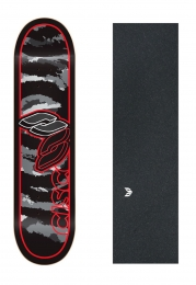 "Shape Cisco Skate Marfim Camu Red 8.25"" + Lixa Emborrachada"