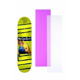 """Shape Cisco Skate Marfim Feminino Rosie 8"""" + Lixa Rosa ou Transparente"""