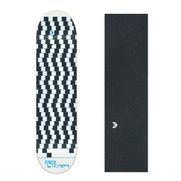"Shape Cisco Skate Marfim Optical Blue 8.125"" + Lixa Emborrachada"