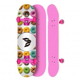 """Skate Montado Profissional Cisco Feminino Dunuts - Truck/Roda/Lixa Rosa 8"""""""
