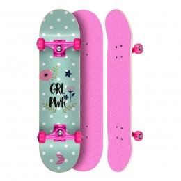 "Skate Montado Profissional Cisco Feminino Flowers - Truck/Roda/Lixa Rosa 8"""