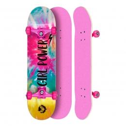 "Skate Montado Profissional Cisco Feminino Tie Dye - Truck/Roda/Lixa Rosa 8"""