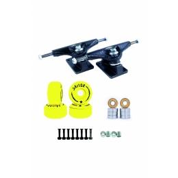 Truck Pro 129mm + 4 Rodas Street 51mm + Rolamento Abec 11 + Espaçador + Parafuso de Base