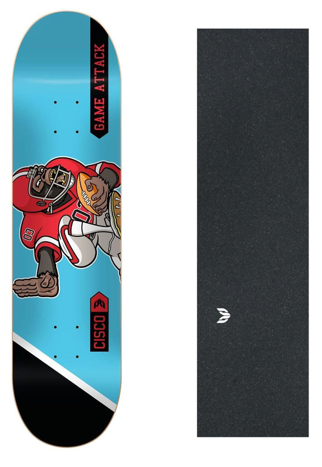 "Shape Cisco Skate Fiber Decks Football 8.5"" + Lixa emborrachada + Parafuso de Base"