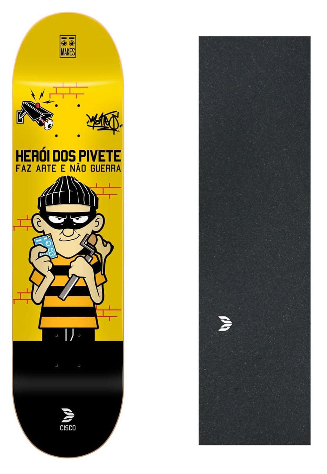 """Shape Cisco Skate Fiber Decks Herói dos Pivete 8"""" + Lixa Emborrachada"""