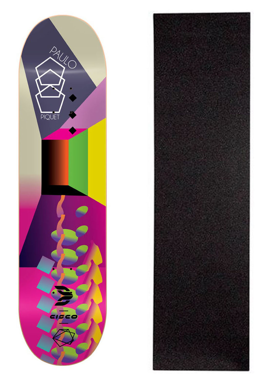 "Shape Cisco Skate Fiber Decks Neon Paulo Piquet 8.25"""