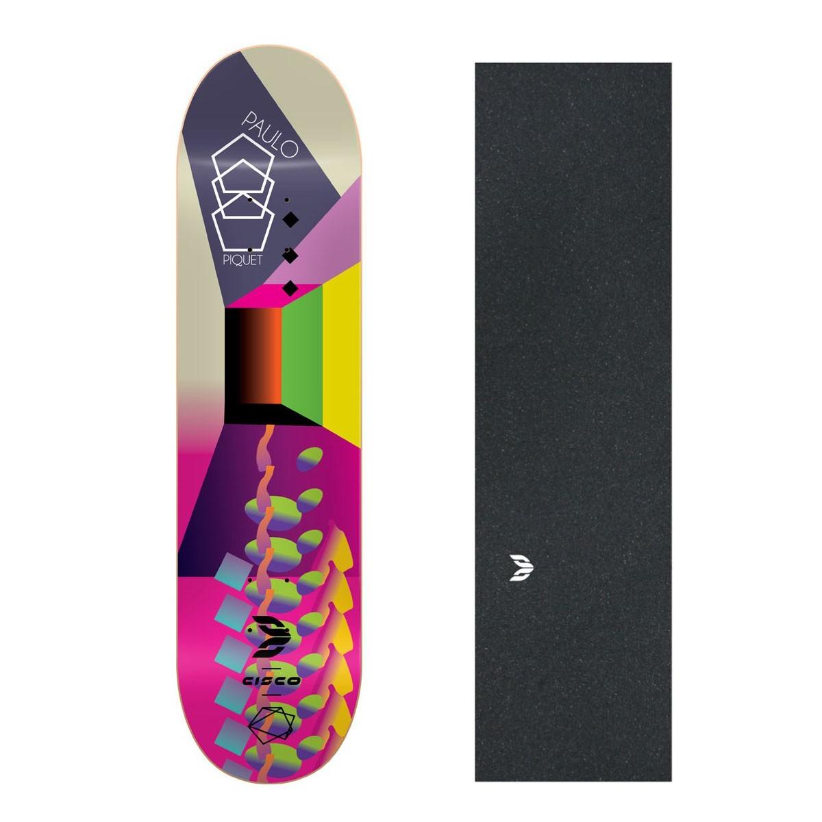 "Shape Cisco Skate Fiber Decks Neon Paulo Piquet 8.25"" + Lixa Emborrachada"