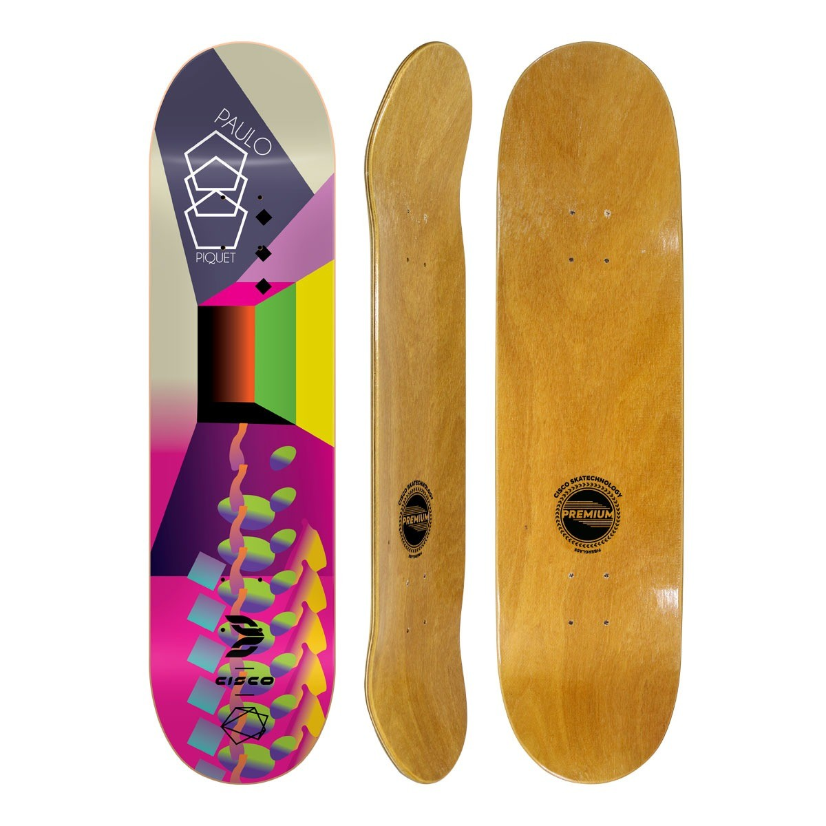 Shape Cisco Skate Fiber Decks Neon Paulo Piquet 8""