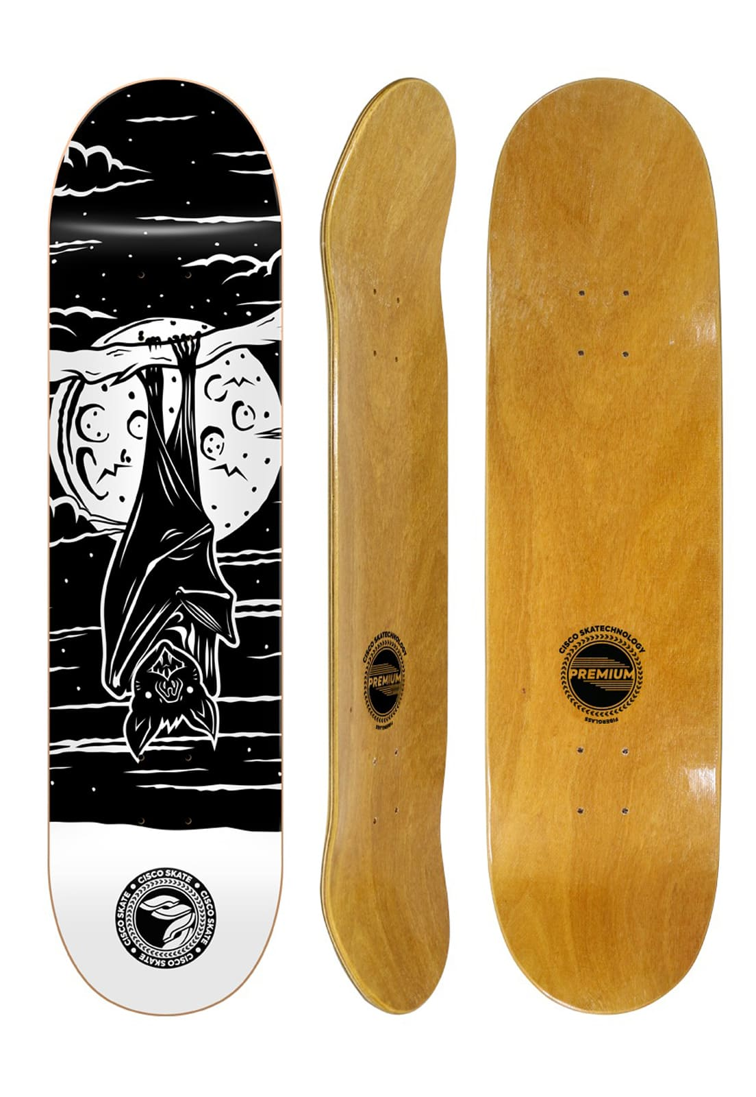 Shape Cisco Skate Fiber Decks Serie Animais Noturnos Bat 7.75""