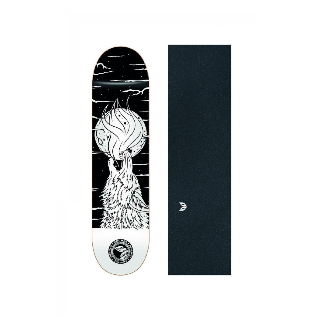 """Shape Cisco Skate Fiber Decks Serie Animais Noturnos Wolf 8.25"""" + Lixa Emborrachada"""