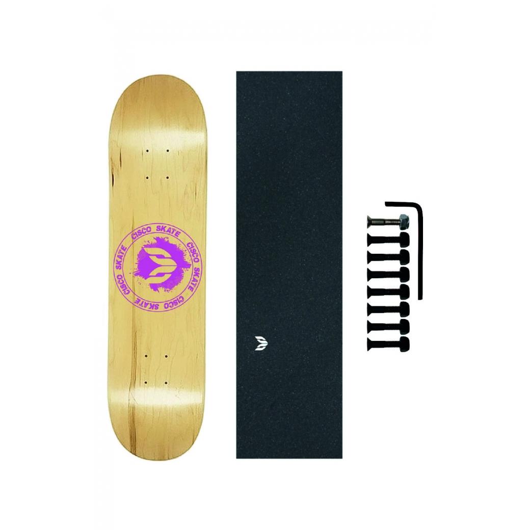 Shape Cisco Skate Maple Canadense Importado Logo Pink + Lx Emborrachada + Parafuso de Base