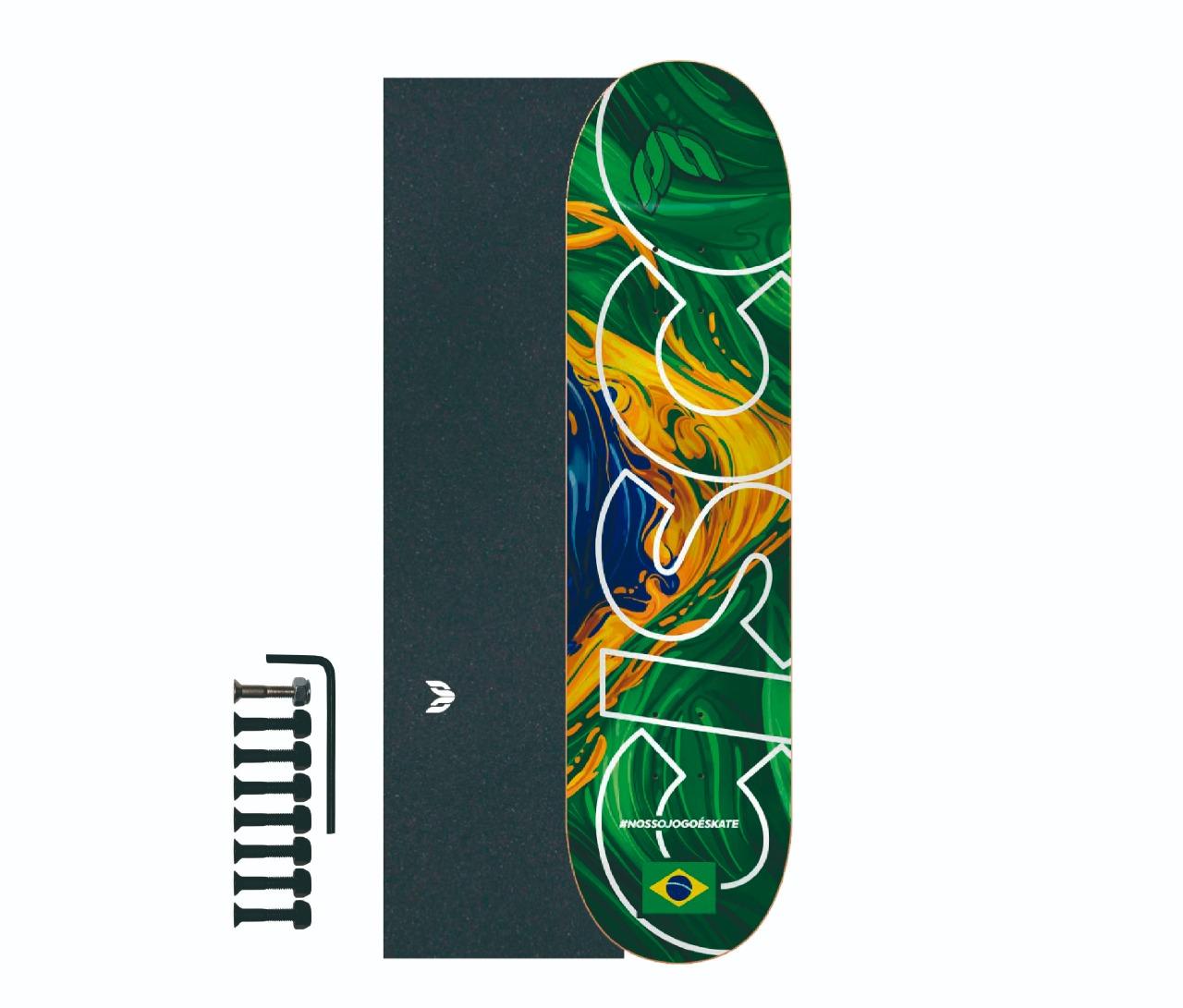 "Shape Cisco Skate Marfim Braza 8""/8.125""/8.25"" + Lixa Emborrachada + Parafuso de Base"