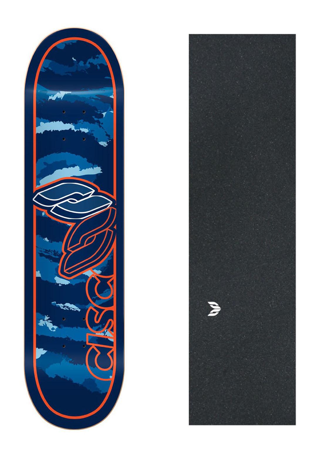 """Shape Cisco Skate Marfim Camu Blue 8"""" + Lixa Emborrachada"""