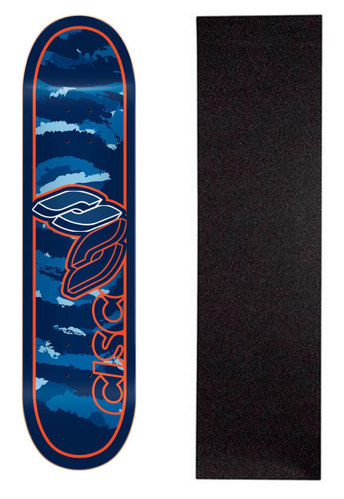 """Shape Cisco Skate Marfim Camu Blue 8"""" + Lixa Grátis"""