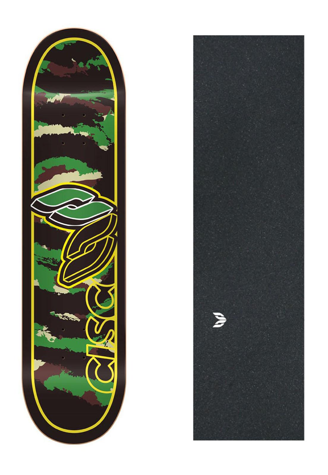 "Shape Cisco Skate Marfim Camu Green 8"" + Lixa Emborrachada"