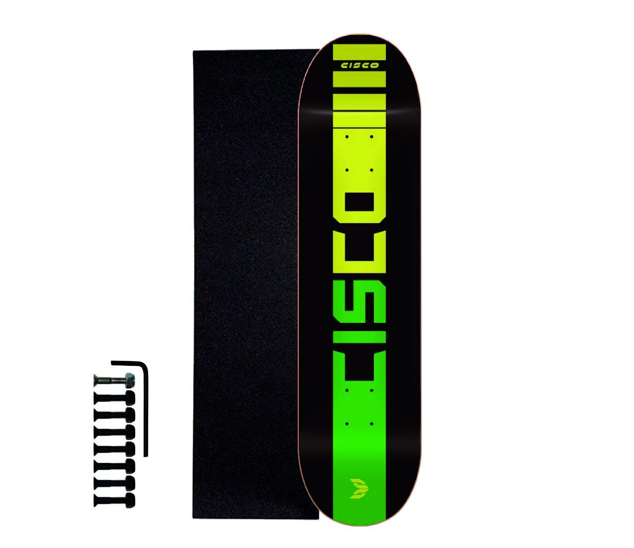 "Shape Cisco Skate Marfim Company Black 8.125"" + Lixa Emborrachada + Parafuso de Base"
