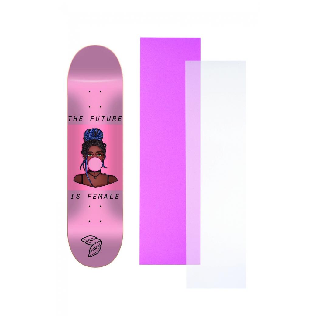 """Shape Cisco Skate Marfim Feminino Gum 8"""" + Lixa Rosa ou Transparante"""