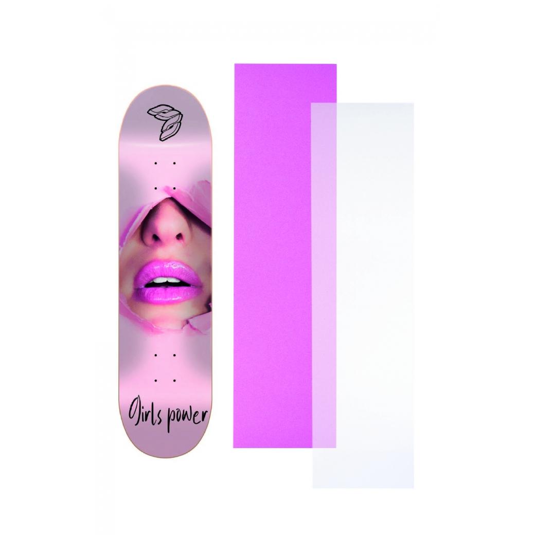 """Shape Cisco Skate Marfim Feminino Powerpuff 8"""" + Lixa Rosa ou Transparente"""
