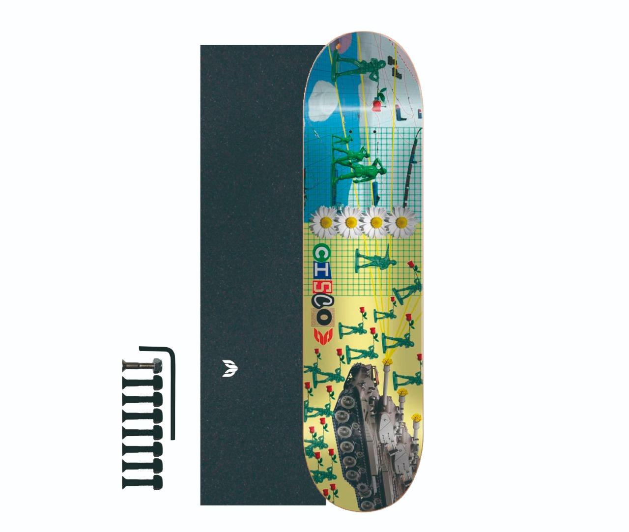 "Shape Cisco Skate Marfim Love 8.25"" + Lixa Emborrachada + Parafuso de Base"