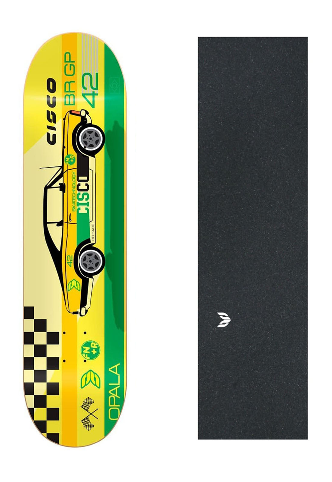 "Shape Cisco Skate Marfim Opala 8""  + Lixa Emborrachada"