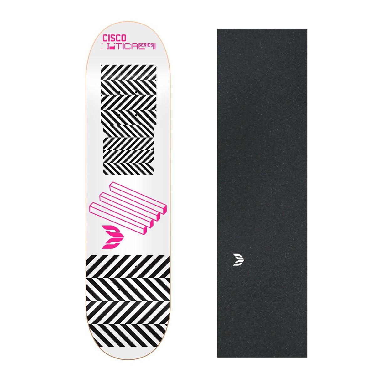 "Shape Cisco Skate Marfim Optical Pink 8"" + Lixa Emborrachada"