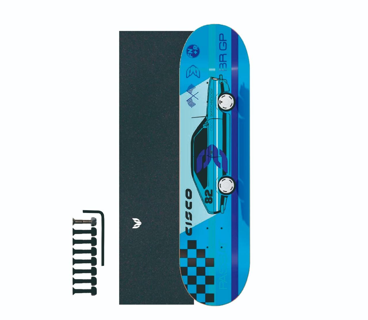 "Shape Cisco Skate Marfim Passat 8.125"" + Lixa Emborrachada + Parafuso de Base"