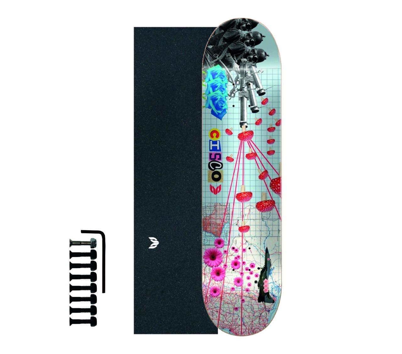 "Shape Cisco Skate Marfim Peace 8.125"" + Lixa Emborrachada + Parafuso de Base"